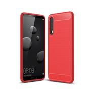 GSMWise Huawei P20 Pro - Geborsteld Hard Back Case Carbon Fiber Design - Rood