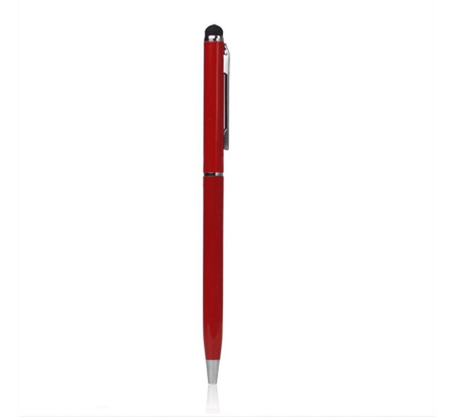 Universele multifunctionele capacitive Stylus touch pen met balpen - Rood