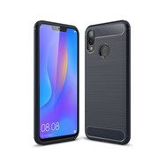 GSMWise Huawei P Smart Plus (2018) Hoesje - Carbon Fiber Design Back Case - Blauw
