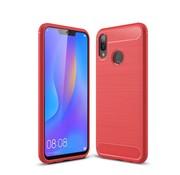 GSMWise Huawei P Smart Plus (2018) Hoesje - Carbon Fiber Design Back Case - Rood