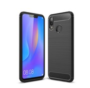 GSMWise Huawei P Smart Plus (2018) Hoesje - Carbon Fiber Design Back Case - Zwart