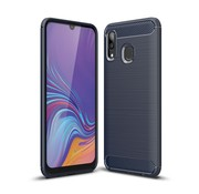 GSMWise Samsung Galaxy A40 Hoesje - Carbon Fiber Design Back Case - Blauw