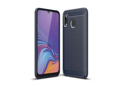 Carbon Fiber Texture Brushed TPU Case for Samsung Galaxy A40 - Dark Blue