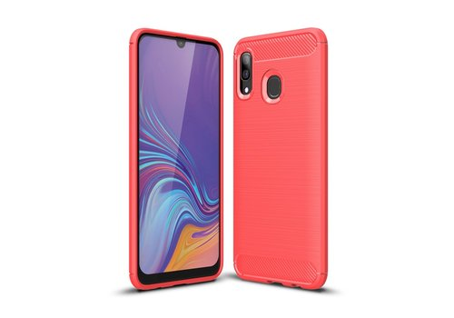 Carbon Fiber Texture Brushed TPU Case for Samsung Galaxy A40 - Red