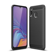 GSMWise Samsung Galaxy A40 Hoesje - Carbon Fiber Design Back Case - Zwart