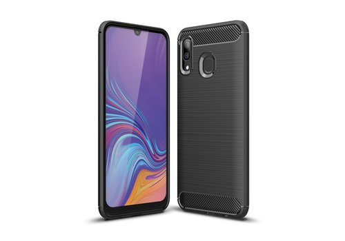 Carbon Fiber Texture Brushed TPU Case for Samsung Galaxy A40 - Black