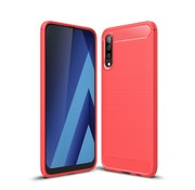 GSMWise Samsung Galaxy A50 Hoesje - Carbon Fiber Design Back Case - Rood
