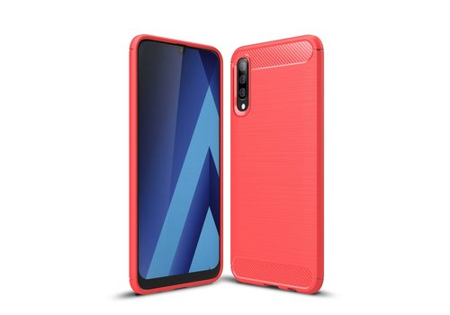 Carbon Fibre Brushed TPU Case for Samsung Galaxy A50 - Red