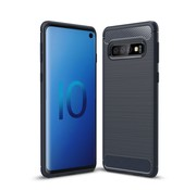 GSMWise Samsung Galaxy S10 Hoesje - Carbon Fiber Design Back Case - Blauw