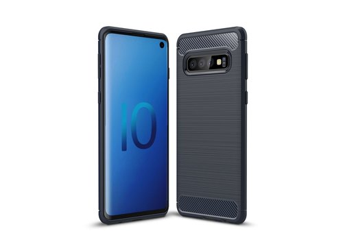 Carbon Fiber Texture Brushed TPU Back Phone Shell for Samsung Galaxy S10 - Dark Blue