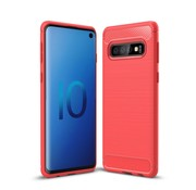 GSMWise Samsung Galaxy S10 Hoesje - Carbon Fiber Design Back Case - Rood