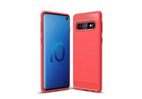 Carbon Fiber Texture Brushed TPU Back Phone Shell for Samsung Galaxy S10 - Red