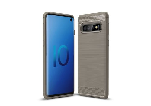 Carbon Fiber Texture Brushed TPU Back Phone Shell for Samsung Galaxy S10 - Grey