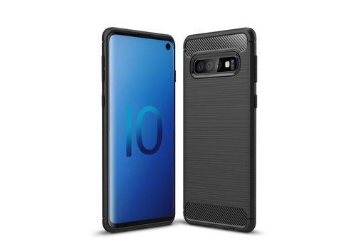 Carbon Fiber Texture Brushed TPU Back Phone Shell for Samsung Galaxy S10 - Black