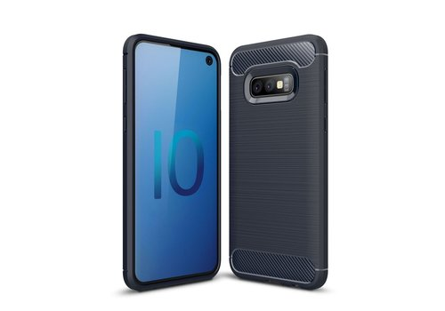 Carbon Fiber Texture Brushed TPU Mobile Phone Shell for Samsung Galaxy S10e - Dark Blue