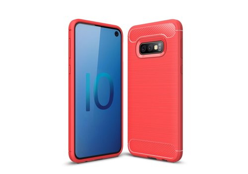 Carbon Fiber Texture Brushed TPU Mobile Phone Cover for Samsung Galaxy S10e - Red