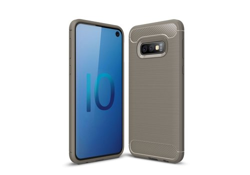 Carbon Fiber Texture Brushed TPU Mobile Phone Case for Samsung Galaxy S10e - Grey