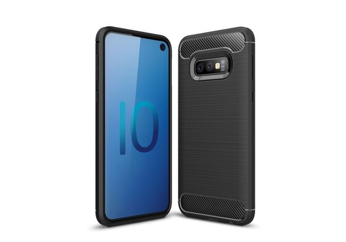 Carbon Fiber Texture Brushed TPU Mobile Phone Casing for Samsung Galaxy S10e - Black