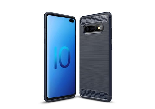 Carbon Fiber Texture Brushed TPU Mobile Phone Shell for Samsung Galaxy S10 Plus - Dark Blue