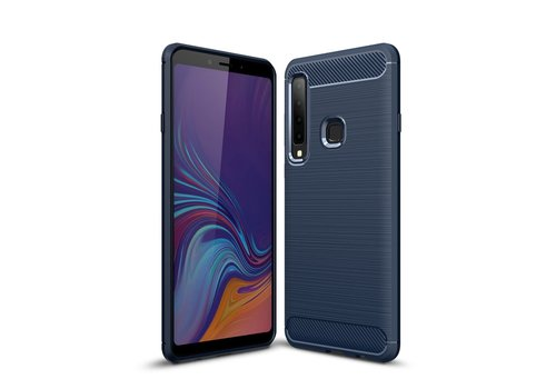 Carbon Fiber Texture Brushed TPU Cell Phone Case Cover Shell for Samsung Galaxy A9 (2018) / A9 Star Pro / A9s - Dark Blue