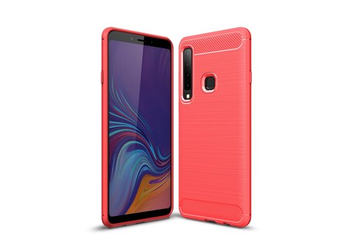 Carbon Fiber Texture Brushed TPU Shell for Samsung Galaxy A9 (2018) / A9 Star Pro / A9s - Red