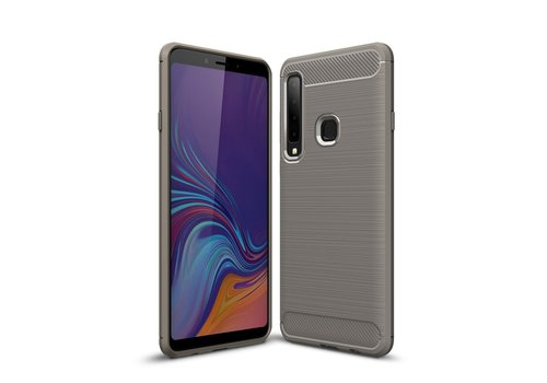 Carbon Fiber Texture Brushed TPU Cover for Samsung Galaxy A9 (2018) / A9 Star Pro / A9s - Grey