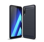 GSMWise Samsung Galaxy A7 (2018) Hoesje - Carbon Fiber Design Back Case - Blauw