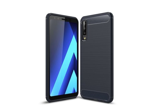 Brushed TPU Cell Phone Case Carbon Fiber Texture Soft Cover for Samsung Galaxy A7 (2018) - Dark Blue