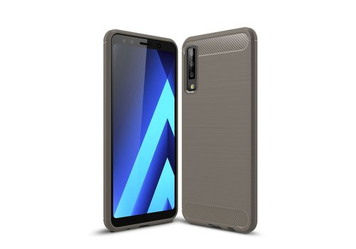 Carbon Fiber Texture Brushed TPU Mobile Phone Cover for Samsung Galaxy A7 (2018) - Grey