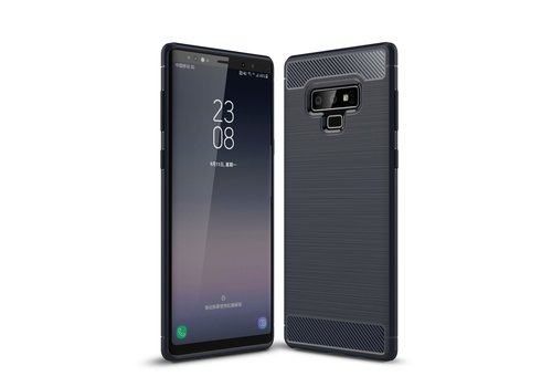 Carbon Fiber Texture Brushed TPU Mobile Phone Shell for Samsung Galaxy Note 9 - Dark Blue