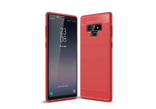 Carbon Fiber Texture Brushed TPU Phone Casing for Samsung Galaxy Note 9 - Red