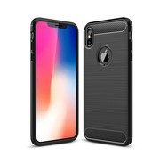 GSMWise Apple iPhone XS Max Hoesje - Carbon Fiber Design Back Case - Zwart