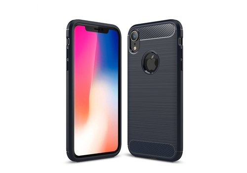 Carbon Fibre Brushed TPU Protection Case for iPhone XR 6.1 inch - Dark Blue