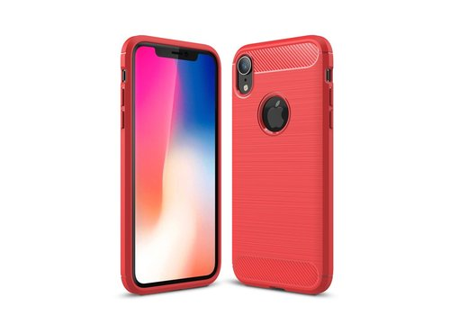 Carbon Fibre Brushed TPU Cell Phone Case for iPhone XR 6.1 inch - Red