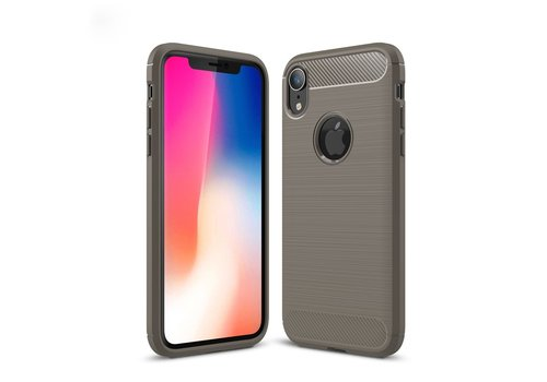 Carbon Fibre Brushed TPU Back Case for iPhone XR 6.1 inch - Grey