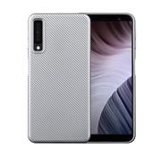 GSMWise Samsung Galaxy A7 (2018) Hoesje - Carbon Fiber Design Back Case - Zilver
