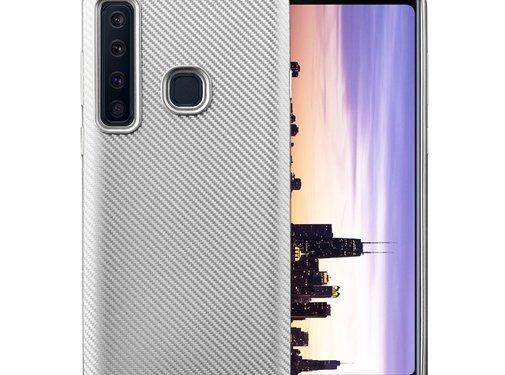 GSMWise Samsung Galaxy A9 (2018) Hoesje - Carbon Fiber Design Back Case - Zilver