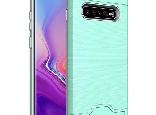 GSMWise Samsung Galaxy S10 Plus Hoesje - Hard Case met Pashouder en Standaard - Turquoise