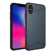 GSMWise Apple iPhone XS Max Hoesje - Hard Case met Pashouder en Standaard - Blauw