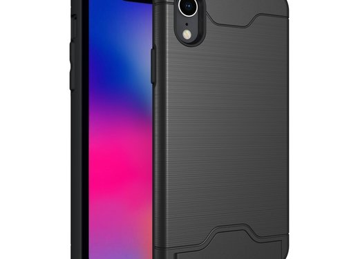 GSMWise Apple iPhone XR Hoesje - Hard Case met Pashouder en Standaard - Zwart