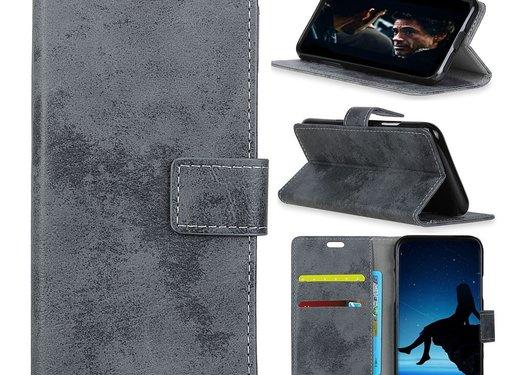GSMWise Samsung Galaxy A7 (2018) Hoesje - Vintage Wallet Case met Kaarthouder - Grijs