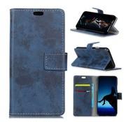 GSMWise Huawei P30 Hoesje - Vintage Wallet Case met Kaarthouder - Blauw