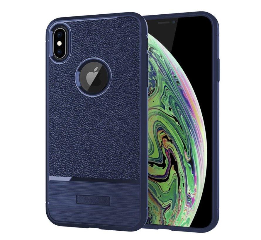 Apple iPhone XS Max Hoesje - Geborsteld Flexibele TPU Back Case - Blauw
