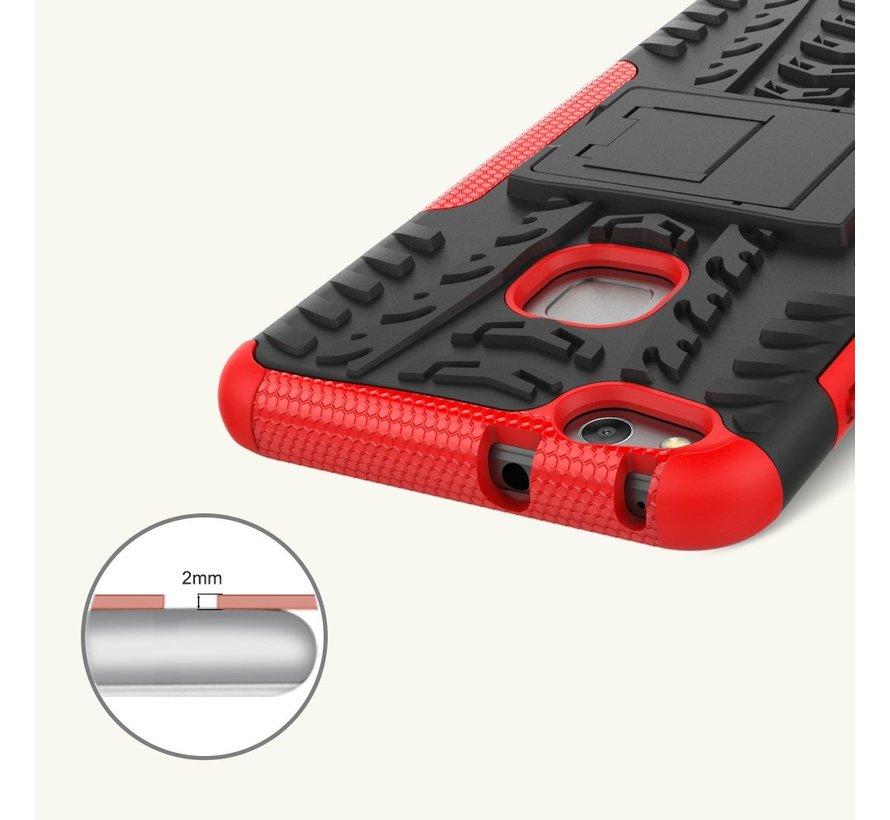 Huawei P10 Lite Hoesje - Hybride Back Cover met standaard - Rood