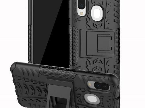GSMWise Samsung Galaxy A40 Hoesje - Hybride Back Cover met standaard - Zwart