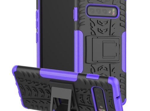 GSMWise Samsung Galaxy S10 Hoesje - Hybride Back Cover met standaard - Paars