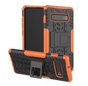 GSMWise Samsung Galaxy S10 Hoesje - Hybride Back Cover met standaard - Oranje