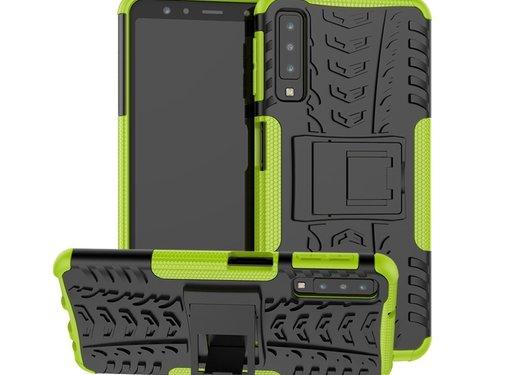 GSMWise Samsung Galaxy A7 (2018) Hoesje - Hybride Back Cover met standaard - Groen