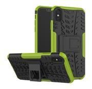 GSMWise Apple iPhone XS Max Hoesje - Hybride Back Cover met standaard - Groen