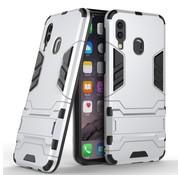 GSMWise Samsung Galaxy A40 Hoesje - Hybride Hard Case met standaard - Zilver